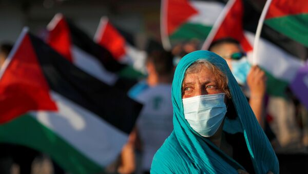 Peace activists take part in a protest against Israel's plan to annex parts of the Israeli-occupied West Bank, in the Palestinian town of Jericho June 27, 2020 - Sputnik International
