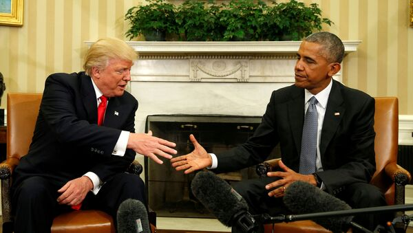 U.S. President Barack Obama meets with President-elect Donald Trump in the Oval Office of the White House in Washington November 10, 2016. - Sputnik International