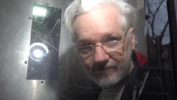 Julian Assange in Serco prison transport van - Sputnik International
