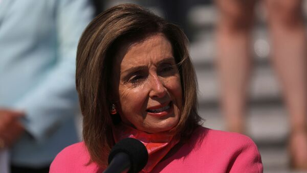 U.S. Speaker of the House Nancy Pelosi holds a news conference with House Democrats to unveil a plan to cut nearly 90% of greenhouse gas emissions by 2050 on the steps of the U.S. Capitol Building, June 30, 2020 in Washington, U.S - Sputnik International