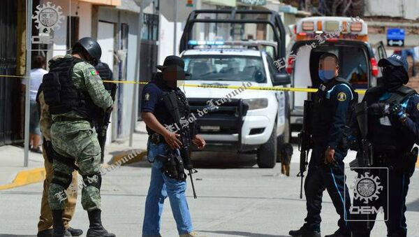 Security forces are seen after gunmen opened fire on a drugs rehabilitation center in Irapuato, Guanajuato, Mexico, June 6, 2020 in this picture obtained from social media. Picture taken June 6, 2020 - Sputnik International