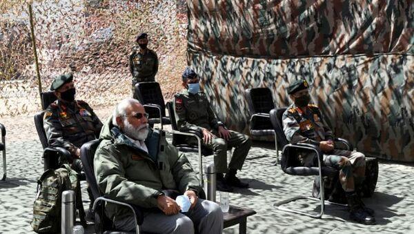 India's Prime Minister Narendra Modi visits Himalayan region of Ladakh July 3, 2020. - Sputnik International