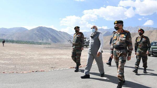 India's Prime Minister Narendra Modi visits Himalayan region of Ladakh, July 3, 2020.  - Sputnik International