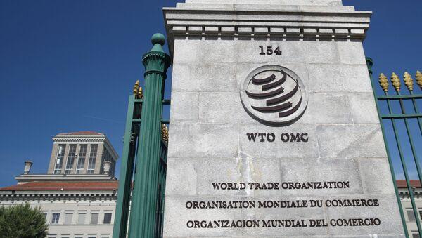 A logo is pictured on the headquarters of the World Trade Organization (WTO) in Geneva, Switzerland, June 2, 2020.  - Sputnik International