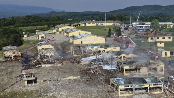 A view of destroyed buildings at a fireworks factory following a fire after an explosion outside the town of Hendek, Sakarya province, northwestern Turkey, Friday, July 3, 2020. There were an estimated 150 workers at the factory, Gov. Cetin Oktay Kaldirim told state-run Anadolu Agency. Several firefighters and ambulances were sent to the factory, which is away from residential areas. However, explosions were continuing, hampering efforts to bring the fire under control.The cause of the blast wasn't immediately known. - Sputnik International