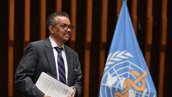 World Health Organization (WHO) Director-General Tedros Adhanom Ghebreyesus arrives at a news conference organized by Geneva Association of United Nations Correspondents (ACANU) amid the COVID-19 outbreak, caused by the novel coronavirus, at the WHO headquarters in Geneva Switzerland July 3, 2020.  - Sputnik International