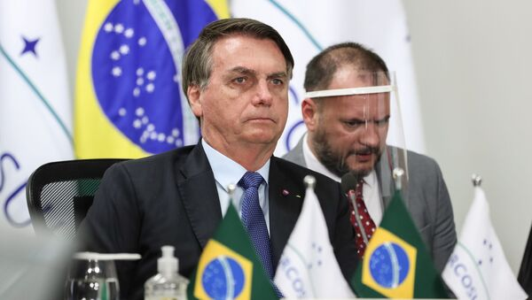 Handout picture released by Brazil's Presidency showing Brazilian President Jair Bolsonaro (L) taking part in the first Mercosur Summit held via video conference due to the COVID-19 novel coronavirus pandemic, from Brasilia, on July 2, 2020. - Sputnik International