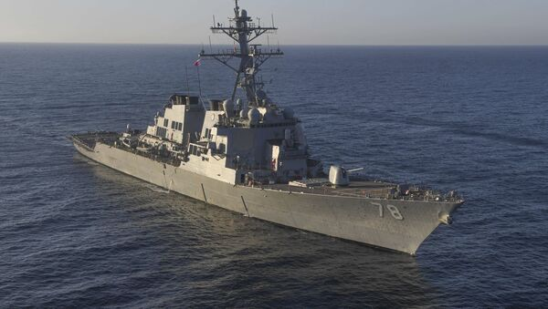 In this image provided by the U.S. Navy, the guided-missile destroyer USS Porter (DDG 78) transits the Mediterranean Sea on March 9, 2017 - Sputnik International