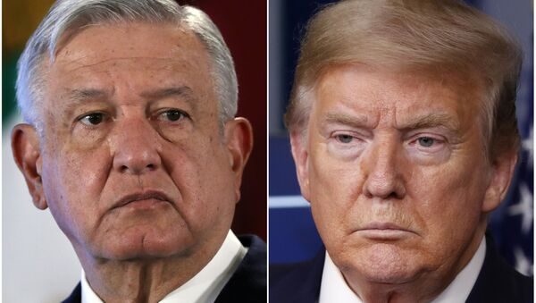 This combination of file photos shows Mexican President Andres Manuel Lopez Obrador, left, on Nov. 29, 2019, in Mexico City and President Donald Trump on April 17, 2020, in Washington. - Sputnik International