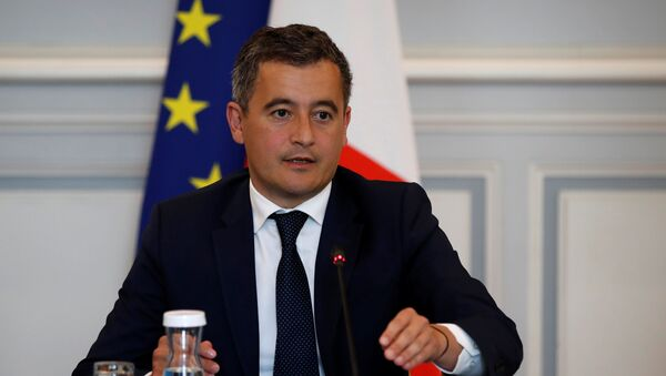 French Interior Minister Gerald Darmanin attends a meeting with representatives of the French National Police and French Gendarmerie, at the Interior Ministry at Place Beauvau in Paris, France,  July 8, 2020 - Sputnik International