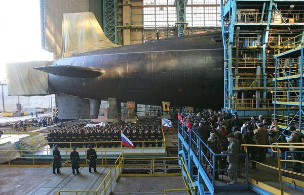 Launching the new strategic nuclear submarine Yury Dolgoruky  - Sputnik International