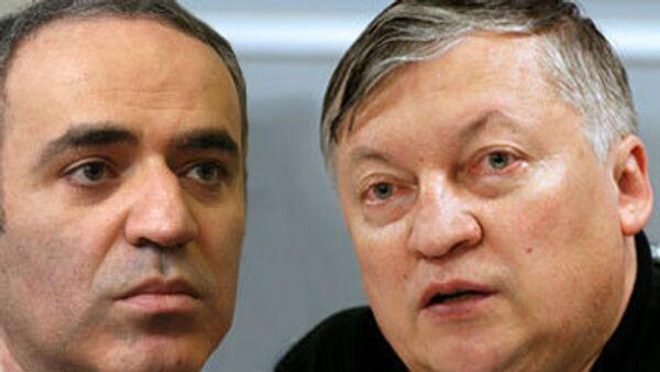 Russian chess legends Anatoly Karpov and Garry Kasparov - Sputnik International