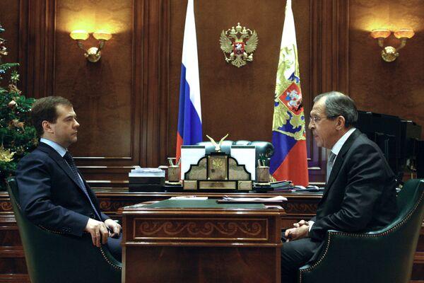 Встреча президента РФ Д.Медведева с главой МИД С.Лавровым - Sputnik International