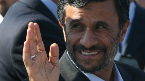 Iran's President Mahmoud Ahmadinejad being greeted at Koltsovo Airport. He arrived in Yekaterinburg to attend a summit of the Shanghai Cooperation Organization (SCO) - Sputnik International