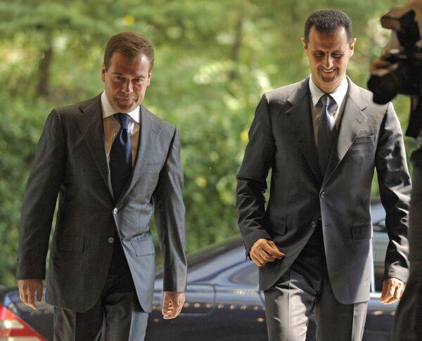 Dmitry Medvedev and Bashar al-Assad. Archive - Sputnik International