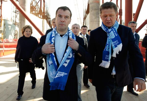 Medvedev inspects future stadium of Russian league leaders Zenit - Sputnik International
