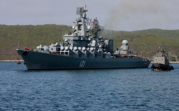 The flagship of Russia's Black Sea fleet, the RFS Moskva guided-missile cruiser - Sputnik International
