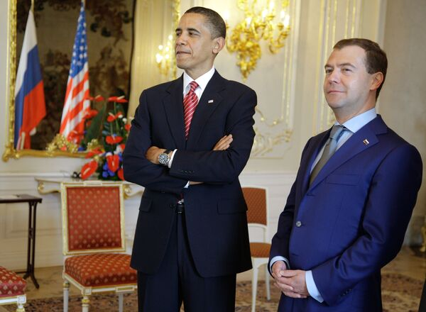 The presidents of Russian and the United States Dmitry Medvedev and Barack Obama - Sputnik International