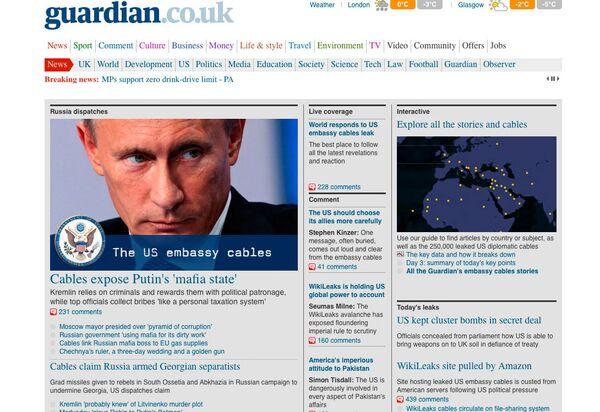 Guardian webpage screen shot - Sputnik International