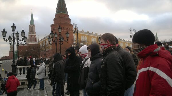 Football fans protesting the death of a Spartak Moscow supporter near Red Square - Sputnik International