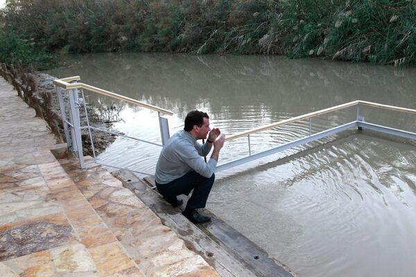 Dmitry Medvedev on the banks of the Jordan River - Sputnik International