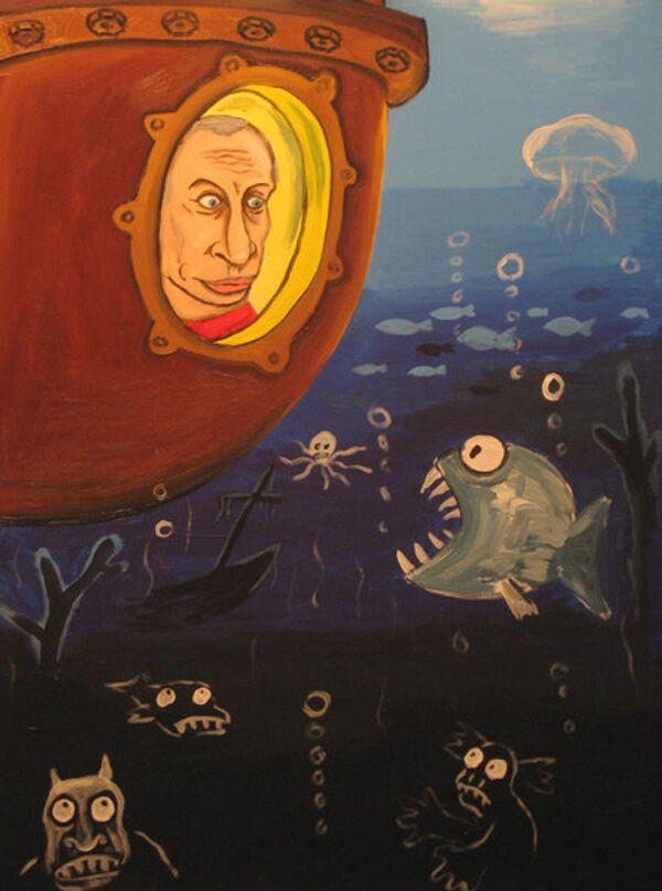 Action man Vladimir Putin inside a mini-submarine during his dive to the bottom of Lake Baikal in 2009 - Sputnik International
