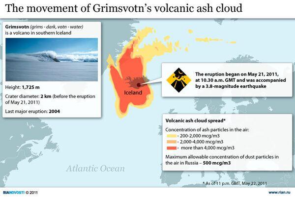 The movement of Grimsvotn's volcanic ash cloud - Sputnik International