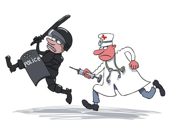 Police vs. doctors - Sputnik International