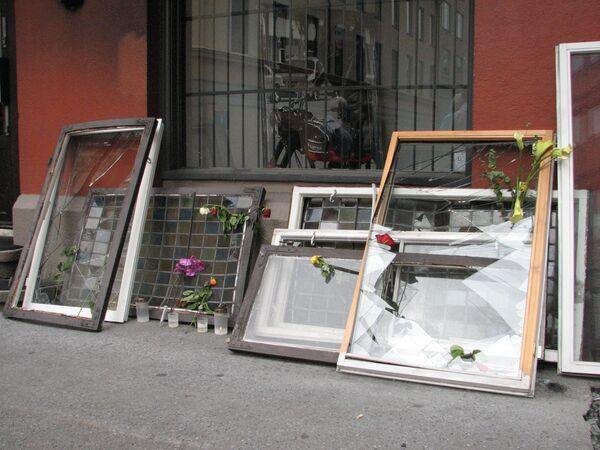 Broken windows on the corner of Mollergala and Skranikga street - Sputnik International