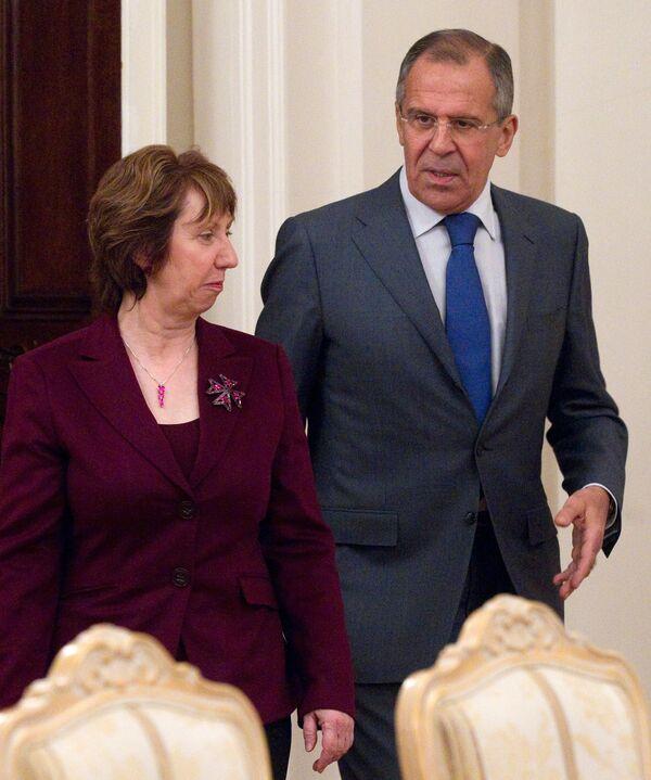 EU High Representative for Foreign Affairs and Security Policy Catherine Ashton and Russian Foreign Minister Sergei Lavrov - Sputnik International