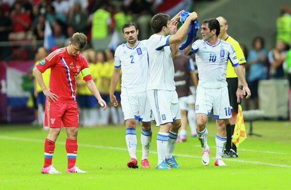 The Greeks felt they were denied a clear penalty in the 1-0 win over Russia - Sputnik International