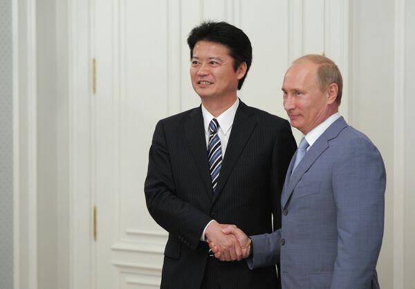 Koichiro Gemba and Vladimir Putin  - Sputnik International