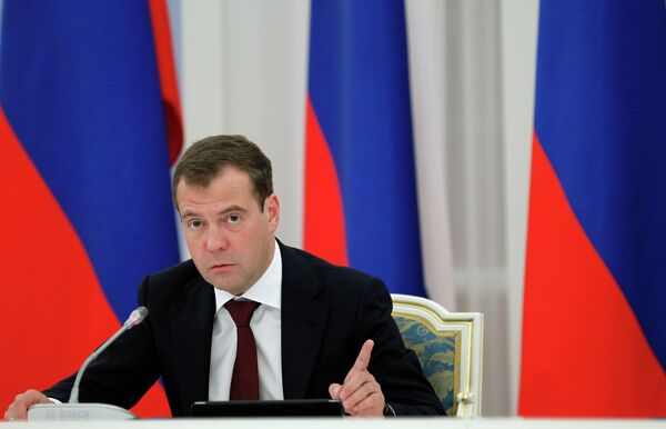 Russia's Prime Minister Dmitry Medvedev during governamental meeting, - Sputnik International