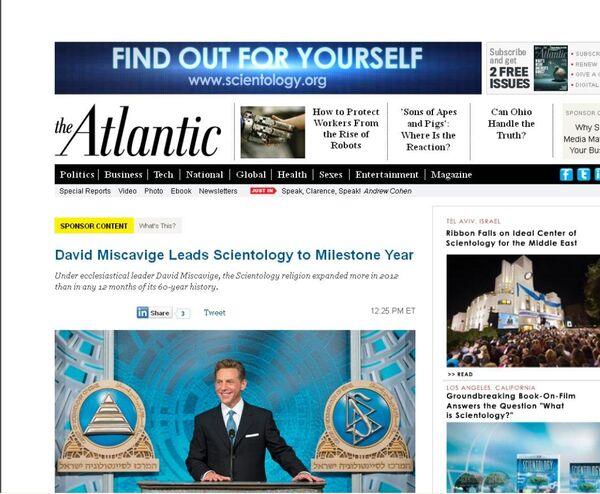 US Magazine Criticized Over Scientology Ad - Sputnik International