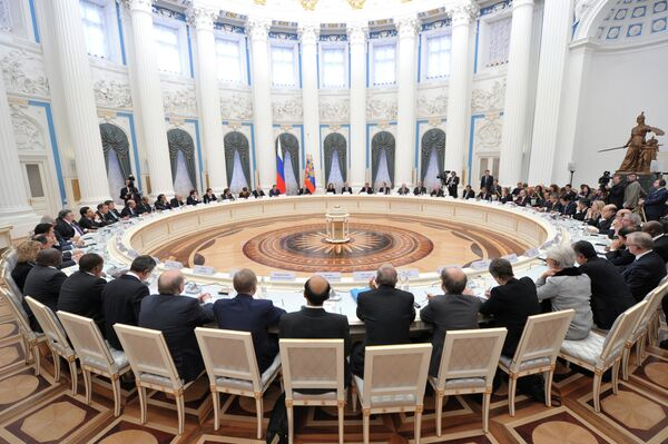 G20 finance ministers and central bankers meeting with Russian President Vladimir Putin in the Catherine Hall of the Grand Kremlin Palace on February 15. - Sputnik International