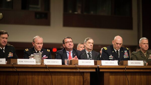 Vice Chief of Naval Operations ADM Mark Ferguson, Chairman of the Joint Chiefs of Staff Gen. Martin Dempsey, Deputy Defense Secretary Ashton Carter, Defense Undersecretary Robert Hale, Army Chief of Staff Gen. Raymond Odierno, and the Commandant of the Marine Corps Gen. James Amos testify before the Senate Armed Services Committee on the impacts of sequestration in Washington, February 12, 2013 - Sputnik International