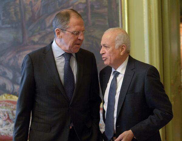 Russian Foreign Minister Sergei Lavrov and Arab League Secretary General Nabil Elaraby - Sputnik International