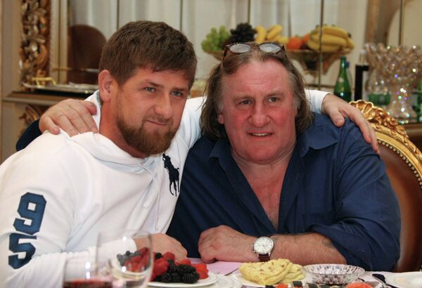 French actor Gerard Depardieu with Chechen leader Ramzan Kadyrov - Sputnik International