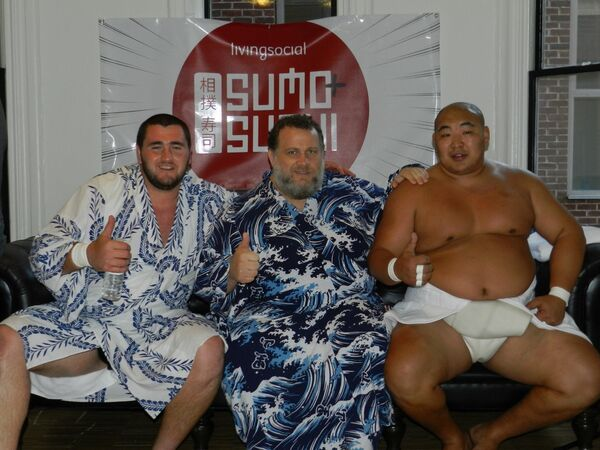 "Sumo wrestlers Soslan Gagloev, 340 pounds (154 kg), left ;  Kelly Gneiting, 430 pounds (195 kg), center; and Byambajav ""Byamba"" Ulambayar, 370 pounds (168 kg), right. - Sputnik International"