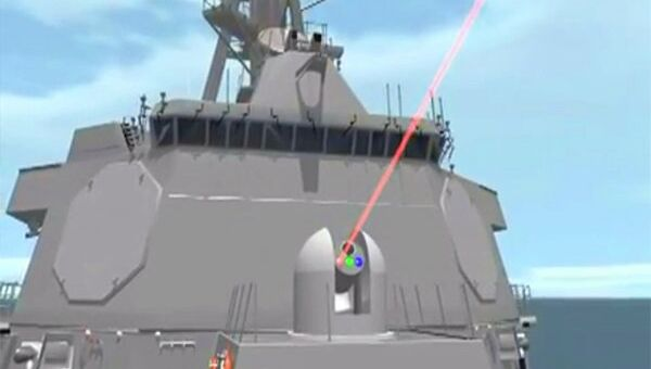 Animation from a US Navy video showing how the new ship-mounted laser cannon would work. - Sputnik International