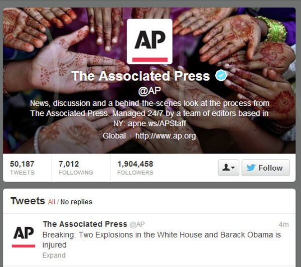 The Associated Press Twitter account was hacked with a message about explosions at the White House. - Sputnik International
