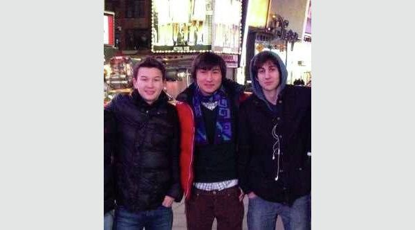Dzhokhar Tsarnaev (right) stands with Azamat Tazhayakov (left) and Dias Kadyrbayev (center) at Times Square in New York City. The third friend who was charged, Robel Phillipos, is not pictured. - Sputnik International