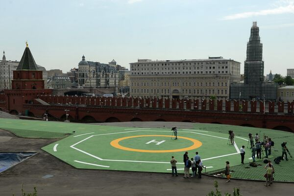 Helicopter pad for President Vladimir Putin's Mi-8 in the Kremlin - Sputnik International