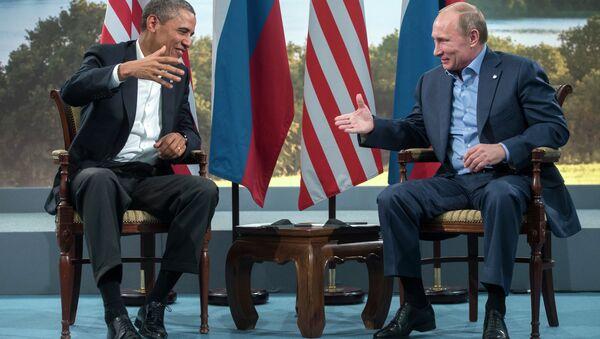 US President Barack Obama and Russian President Vladimir Putin prepare to shake hands after their meeting during the G8 Summit at Lough Erne in Enniskillen, Northern Ireland, June 17, 2013 - Sputnik International