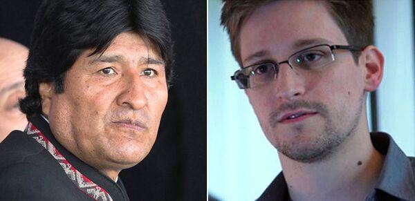 Bolivian President Evo Morales, left; US fugitive and former intelligence contractor Edward Snowden - Sputnik International