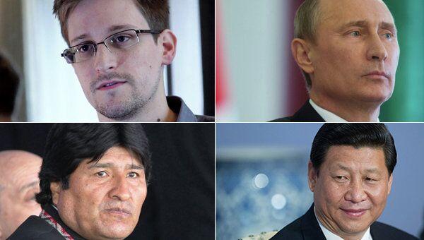 Clockwise from top left: Edward Snowden, Vladimir Putin, Xi Jinping, Evo Morales - Sputnik International