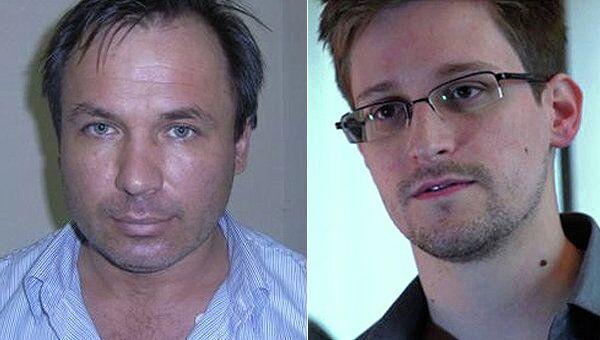 Jailed Russian pilot Konstantin Yaroshenko, left, and US fugitive fugitive Edward Snowden - Sputnik International
