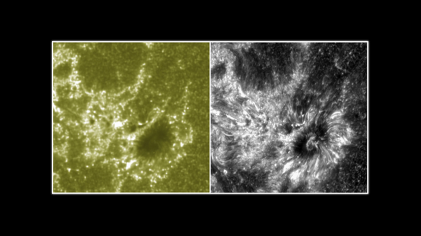The image on the right shows the sun, as captured by NASA Interface Region Imaging Spectrograph (IRIS). On the left, the sun is captured by NASA's solar observatory. - Sputnik International