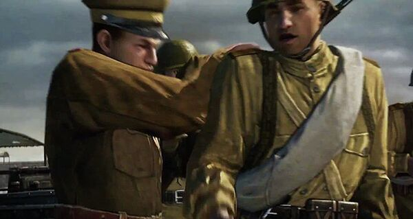A Russian officer in the video game shoves a subordinate who complains about being unarmed before a battle. - Sputnik International