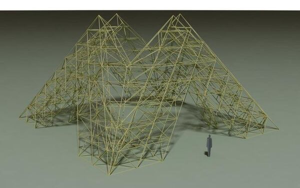 The wooden pyramid standing 36 feet (11 meters) tall will house the Mir space station model - Sputnik International